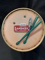 "Lambertz Aachen German Cookie Tin W/ Music Box Drum ""Silent Night"" Christmas"