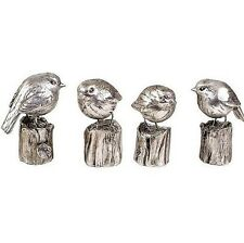 libra Juego de 4 PLATA GORRIONES Decorativo Figura Adornos 9cm