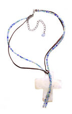 Blue Beads & Brown Leather/ White Cross Adjustable Necklace(Zx177)