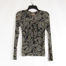 Charcoal gray brown paisley mesh SWEET PEA BY STACY FRATI stretch blouse M