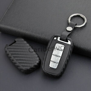 Carbon Fiber Look Car Key Keychain Holder For Hyundai Elantra Sonata Kia Optima