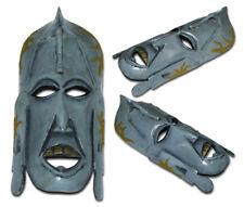 Goldie-unici dipinti mano maschera tribale in legno-Grigio Pietra, Erba Artificiale