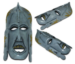 Goldie - Unique Hand Painted Wooden Tribal Mask - Stone Grey, Artificial Grass