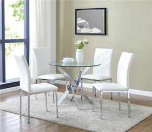 Glass Dining Table Set and 4 White Chairs Faux Leather Modern Chrome Legs UK