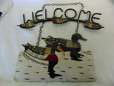 Vintage Metal Hanging Welcome Sign with Ducks-Rustic