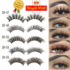 3D Mink Eyelashes 1-5 Pairs natural False Fake Long Thick Handmade Lashes Makeup