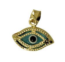 14K Real Yellow Gold Evil Eye Small Charm Pendant Mal De Ojo