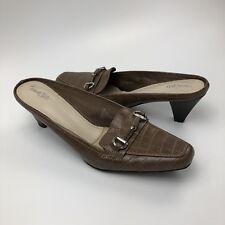 East5th Mules Size 7M High Heels Slip On Shoes Career Brown Crocodile Embossed