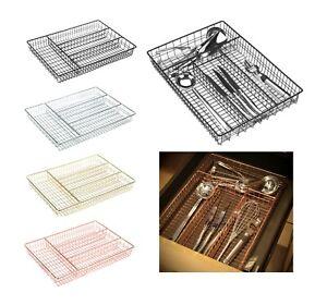 Kitchen Cutlery Tray Metal Wire Organiser Holder Drawer Insert Tidy Storage Cady
