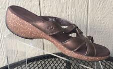 MERRELL Women's Sundial Cross Bronze Brown Leather Thong Sandals Size 11