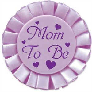"""Baby Shower Mom To Be Satin Button 3.5"""" Purple Baby Shower Sash & Decorations"""