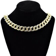 """Hip Hop Choker Chain Men 18"""" Inch Cuban Gold Finish Iced Out Bling 15MM Necklace"""