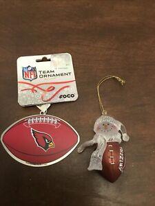 Arizona Cardinals Christmas Ornament Lot Of 2 NFL Metal Football Wilson Snowman