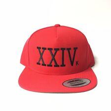 24K XXIVk Magic Snapback Bruno Mars Custom Hat Yupoong Red
