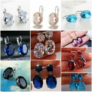 Sunshine Stud Earrings for Women 925 Silver Jewelry White Sapphire A Pair/set