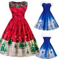 AU Women Santa Christmas Party Lace Dress Rockabilly Xmas Retro Swing Dre Gift