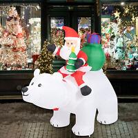 6 Ft Christmas Polar Bear Riding Santa Inflatable LED Lights Decor Outdoor Yard