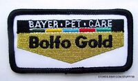 "BAYER BOLFO GOLD PET CARE EMBROIDERED SEW ON PATCH DUTCH LOGO 3 1/4"" x 1 1/2"""