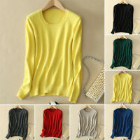 Womens Ladies Knitted Cashmere Sweater Round Neck Long Sleeve Jumper Knit Tops
