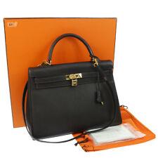 Authentic HERMES KELLY 35 RETOURNE 2way Hand Bag Brown Buffle skipper RK13205
