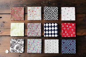 Handmade Men Cotton Pocket Square Handkerchief Floral Geometric Wedding Gift