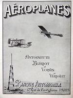 PUBLICITÉ DE PRESSE 1909 AÉROPLANES ANTOINETTE BLÉRIOT VOISIN WRIGHT BANQUE AUTO