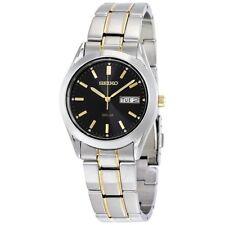 Seiko Solar Black Dial Two-tone Men's Watch  - With 2 Years UK Warranty