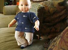 bitty baby boy  tan pants/blue  guitar printed tee/ socks 1034