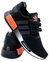 New ADIDAS NMD R1 BOOST athletic sneaker casual Mens black orange all sizes