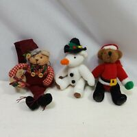 Lot of 3 Holiday Miniature Bears Halloween Jointed Christmas Jewelry Plush