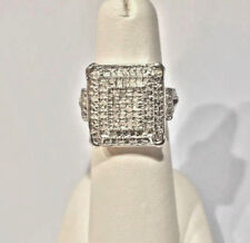 NEW! .65 Ct. PLATINUM DIAMOND RING, STERLING SILVER .925 SIZE 6