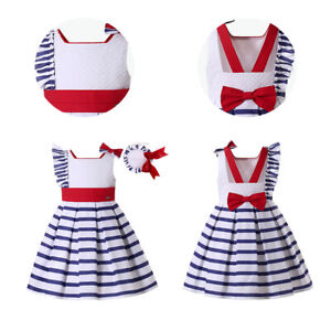 Girls Spanish Dress with Bow Striped Summer Holiday Clothes Blue Sleeveless US