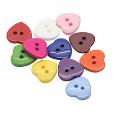 100X Baby Kid's Craft  Love Heart Plastic Sewing Scrapbooking Button 10mm