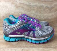 Brooks Adrenaline GTS 17 D Wide Women's Running Shoes Silver Purple Blue