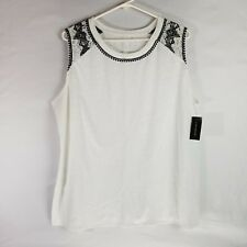 Lane Bryant Sleeveless Shirt Tank Top White Flowers Lace NEW NWT- Womens 18/20
