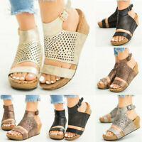 New Womens Cut Out Wedge Heels Sandals Ladies Buckle Platform Summer Shoes Size