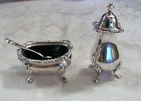 Antique English Sterling Silver Salt Cellar and Pepper Shaker Sheffield 1966