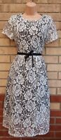 PEACOCKS WHITE FLORAL BLACK LACE BELTED CROCHET FLIPPY A LINE MIDI PARTY DRESS M