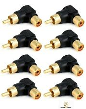 8 Pcs RCA Male to Female Right Angle 90 Degree AV Adapter Cable Connector Gold