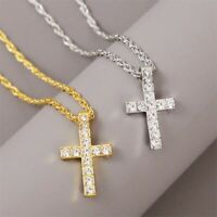 Tiny Small Stainless Steel Cross Necklace Christian Gift Men Classic Accessory