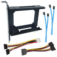 """2.5"""" Dual SSD to PCI Slot Bracket HDD Mount Full Height SATA Data Power Cable"""