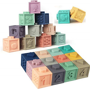 Litand Soft Stacking Blocks for Baby Montessori Sensory Infant Bath Toys for 6 9