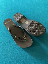 ON HAND Authentic Tory Burch Carved Wedge Flipflop Black Size 6