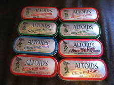 ALTOIDS Chewing Gum, Lot of 8 EMPTY collector Tins with minor dents, NO GUM