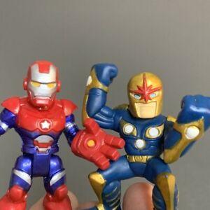 2x Playskool Marvel Super Hero War Machine Iron Patriot & Squad Nova Figures Toy