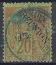 REUNION : TYPE GROUPE SURCHARGE 15c N° 30 OBLITERATION BLEUE