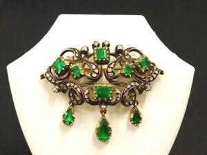 Gold / Silber Historismus Brosche um 1880 m. 5,0 ct Smaragde + Diamanten-Museum