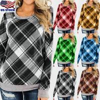 Womens Plaid Long Sleeve Tops Sweatshirt Ladies Checked Blouse Jumper Pullover