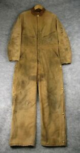 Vintage Carhartt Coveralls Mens 38x29 Duck Canvas Red Insulated Distressed USA