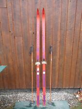 """New listing Ready to Use Cross Country 75"""" Jarvinen 195 cm Skis Waxless Base + Poles"""